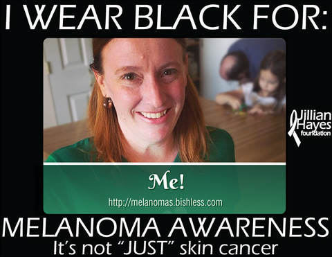 "Photo of Martha labeled with frame which says ""I wear black for me. Melanoma Awareness."""